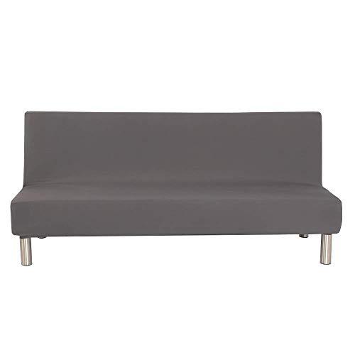 Fodera per divano senza braccioli tinta unita Stretch Fodera per fodera per futon 3 posti Fodera per divano pieghevole per elastici 3 posti Pieghevole Divano letto senza braccioli 200 x 130 cm
