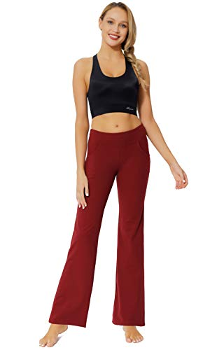Women's Bootcut Yoga Pants Workout Wide Leg Flared Bell Bottom Loose Fit Overalls Yoga Pants for Women,Red,XL 6