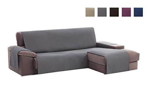 Textilhome - Copridivano Salvadivano Chaise Longe Adele - Color Grey -BRACCIOLO Destro - Protezione...