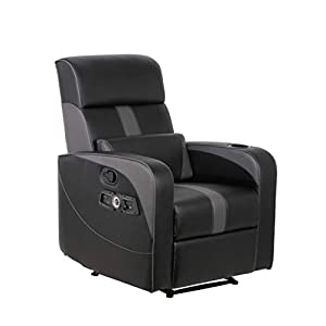 HIGH TECH GAMING RECLINER: Integrated 2.1 Bluetooth Audio System with headrest mounted speakers and a backrest subwoofer provide high quality audio and real-time vibration for added immersion in video games COMPATIBLE WITH MOST GAMING SYSTEMS: Simply...
