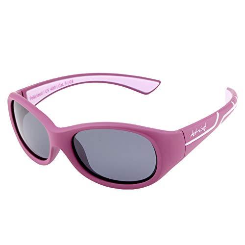 ActiveSol Kids @School Sport-Sonnenbrille | Mädchen und Jungen | 100{0eefe30c5183436209641c44881e7f8432ce62545a011f3c38a1279a99a4ad95} UV 400 Schutz | polarisiert | unzerstörbar aus flexiblem Gummi | 5-10 Jahre | nur 22 Gramm (Beere/Flieder)