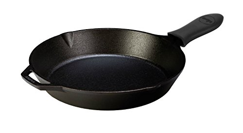 Lodge Seasoned Cast Iron Skillet with Hot Handle Holder - 12 inch Cast Iron Frying Pan with Silicone Hot Handle Holder (BLACK)