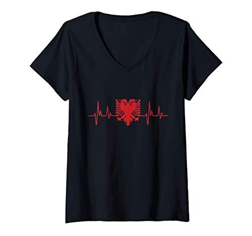 Donna Battito cardiaco Albania - Bandiera Albania - Aquila albanes Maglietta con Collo a V