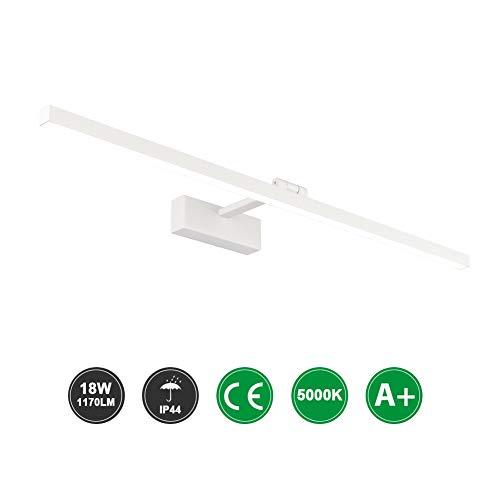 Klighten LED Spiegelleuchte 5500K Weißlicht IP44 Wasserdichte 180° Rotation Badleuchte Wandbeleuchtung Schminklicht Badlampe für Badzimmer Spiegel, 80cm