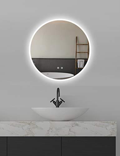 ApeJoy rotondo 60 cm specchio da bagno a LED, specchio antinebbia da bagno con illuminazione, interruttore tocco, bianco luce fredda, risparmio energetico (tondo 60 cm antiappannamento) AJ01s