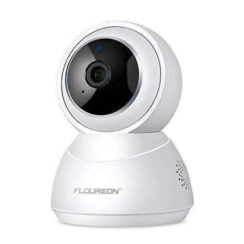 FLOUREON Telecamera di Sorveglianza Senza Fili IP Camera - HD Wireless Videocamera P2P H.264 Visione Notturna, Rilevamento del Movimento, Supporta Micro SD YI Could (Bianco)