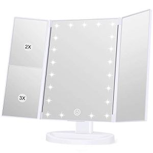 Wondruz Makeup Mirror Vanity Mirror with Lights, 1x 2X 3X Magnification, Lighted Makeup Mirror, Touch Control, Trifold… 2