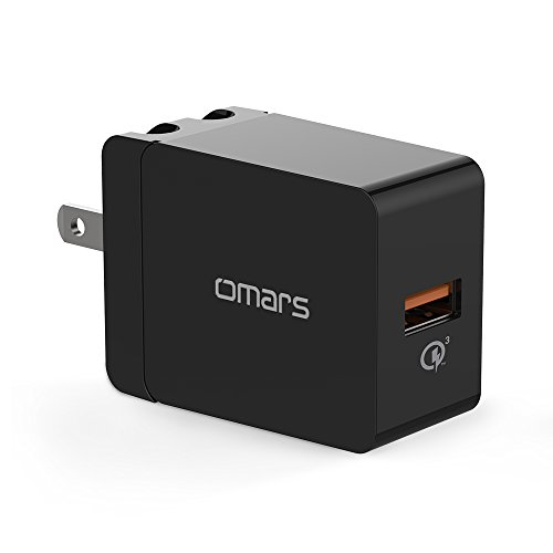 Quick Charge 3.0 18W USB Wall Charger, QC 3.0 Adapter Omars Portable Travel Phone Charger Plug Fast AC Power Adapter Qualcomm QC 3.0 Compatible Samsung, iPhone X/8/7, iPad More (Qualcomm Certified)