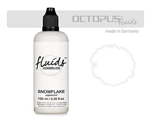 100 ml Fluids Alcohol Ink SNOWFLAKE, Tinta al alcohol para Fluid Art y Resin Art, blanco, white, blanco