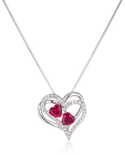 Sterling Silver Created Ruby and White Sapphire Double Heart...
