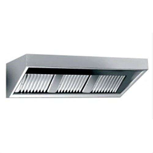Cappa aspirante con illuminazione, a parete, in acciaio inox senza motore (larghezza 1400 mmx...