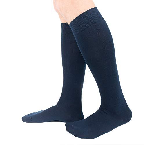 Ciocca Calze uomo lunghe, caldo cotone ritorto resistente - 6 Paia - Due taglie (43/46, Blu)