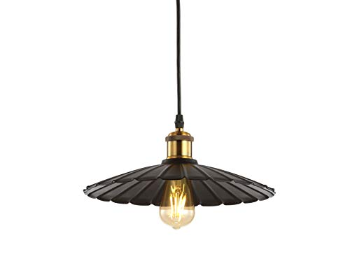 JONATHAN Y JYL9062A Lotus 12.25' Adjustable Metal LED Pendant, Brass Gold/Black Traditional, Dimmable, for Kitchen,...