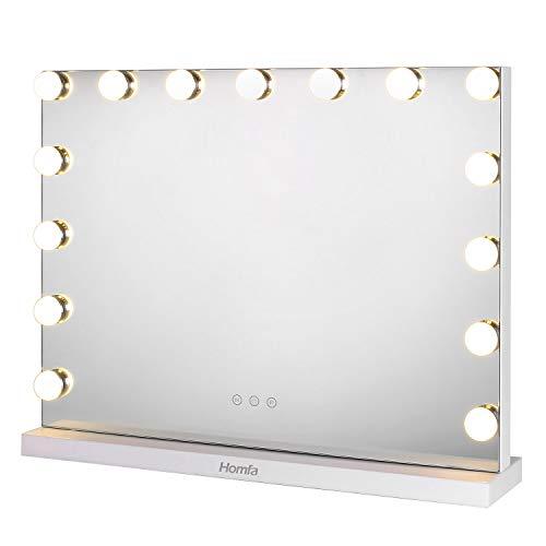 Homfa Spiegel mit Beleuchtung 58x43cm Schminkspiegel Theaterspiegel mit Licht 3 Farbtemperatur 15 dimmbare LED Hollywood-Stil