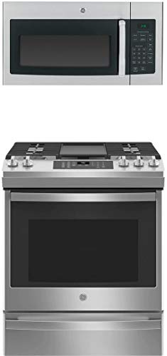 """GE 2 Piece Kitchen Appliances Package with JGS760SPSS 30"""" Slide-in Gas Range and JVM3160RFSS 30"""" Over the Range Microwave in Stainless Steel"""