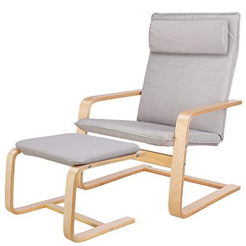Homfa Birkenholz Relaxsessel mit Fußstütze Sessel Schwingsessel Relaxstuhl Belastbarkeit 150 KG Grau für Wohnzimmer Stuhl Kinderzimmersessel 66.5x69x96.5cm