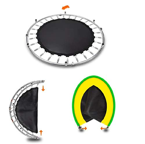 JIYU Mini Foldable Fitness Trampoline Handle for Children/Toddler Rebounder Trampoline with Fence,Max Load 250kg with Adjustable Handrail for Indoor Garden Workout Cardio Exercise Blue 6
