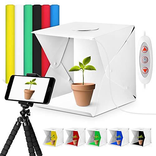 Ymiko Caja de Luz 40x40x40cm Tienda de Tiro Plegable Mini Fotografía Portátil con 2 Piezas de Tira de LED 6 Fondos USB Cable Soporte Escritorio +Teléfono Clip+ Bolsa de Almacenamiento 15.7 x 15.7in