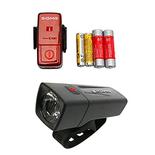 Sigma Sport LED Batterie Fahrradbeleuchtung AURA 25 / CUBIC Set 25 LUX / 400 m Sichtbarkeit batteriebetriebene Fahrradlampe + Rücklicht StVZO zugelassen Schwarz