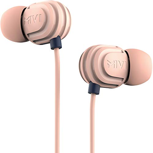 Mivi Rock and Roll E5 Wired In Ear Earphones with HD Sound and Extra Powerful Bass with Mic, Tangle Free & Extra Length Cable | Earphones for Mobile | Beige