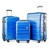 Juego de 3 maletas de viaje con 4 ruedas de peso ligero, rígido, 20/24/28 pulgadas, color azul