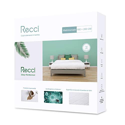 RECCI Coprimaterasso Matrimoniale - Coprimaterasso Impermeabile 160x190/200, 100% Bambu Copri...