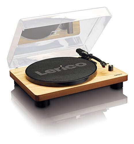 Lenco LS-50 Wood Giradischi in Legno con altoparlanti stereo incorporati, Presa USB, 2 puntine in...