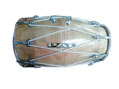 PAL MUSIC HOUSEWood Dholak Indian Folk Musical Instrument Drum Nuts & Bolt with spanner and bag
