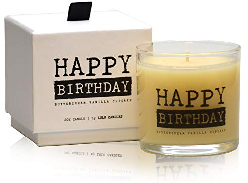 Lulu Candles   Buttercream Vanilla Cupcake   Happy Birthday   Luxury Scented Soy Jar Candles   Hand Poured in The USA   Highly Scented & Long Lasting   Small-6 Oz. with Gift Box