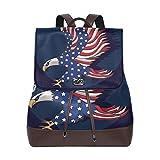Yuanmeiju Mochila de Cuero Rucksack Flag American Bald Daypack Bags for Girls Boys