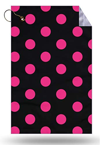 Moonlight4225 Polka Dots Hot Pink Microfiber Velour 11x18 Golf Bag Towel with Grommet and Clip