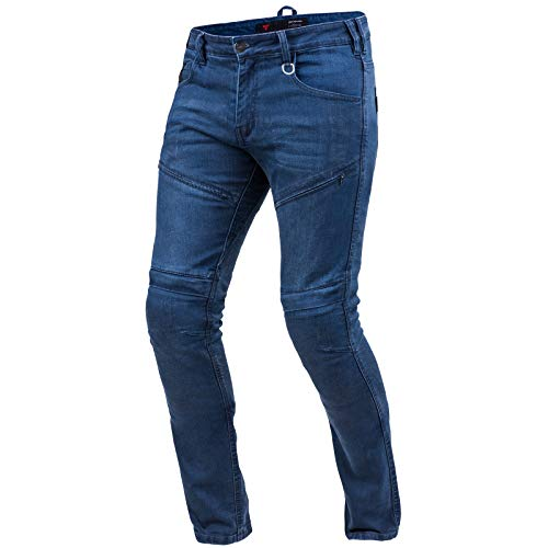 SHIMA Gravel Jeans Moto Uomo - Pantaloni Biker Ventilato vestibilità Slim con Rinforzi in Kevlar, Protezioni CE per Ginocchia e Fianchi (Blu, 32)