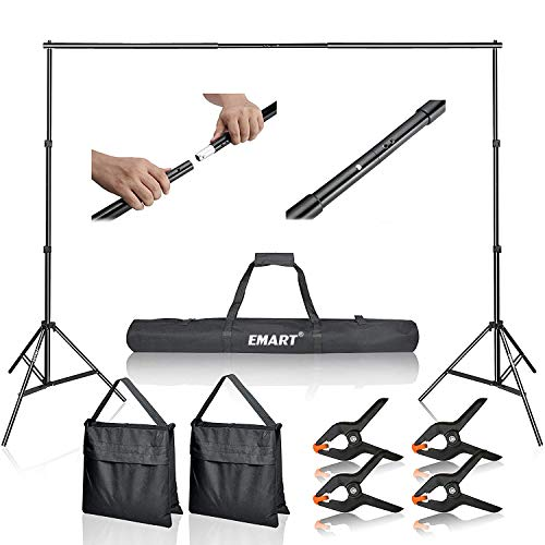 Emart Photo Backdrop Stand Kit, 7x10 ft Adjustable Photography Background Stand for Green Screen, Back Drop Sheet Support for Photoshoot Video Studio