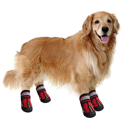 "QUMY Dog Boots Waterproof Shoes for Dogs with Reflective Velcro Rugged Anti-Slip Sole Black 4PCS (Size 6: 2.9""x2.5""(LW), Red-Upgrade)"