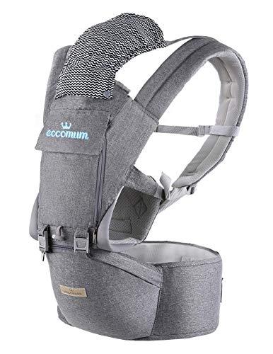 Marsupio Neonati, Eccomum 6 in 1 Multifunzione Puro Cotone Marsupio Porta Bebè(Posizione Ergonomica M) per bambino 3-36 mesi, Traspirante, Dimensioni Regolabili, Perfetto per Viaggio