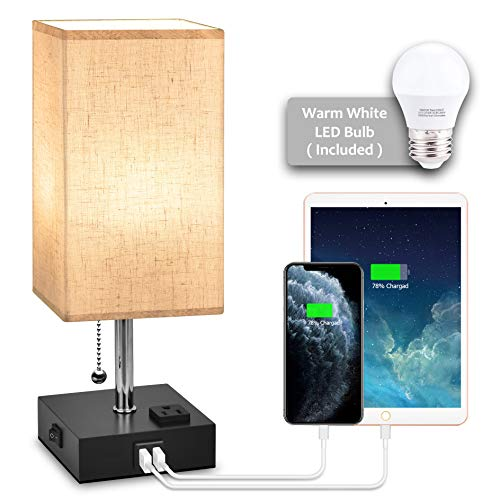 USB Bedside Table Lamp,Hansang Nightstand Lamp with Dual Charging Ports,LED Desk Lamps for Bedrooms,Tetragon Fabric...