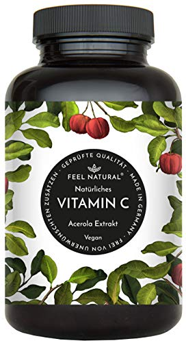 Acerola Kapseln - Natürliches Vitamin C - 180 vegane Kapseln im 6 Monatsvorrat - Ohne unerwünschte Zusätze - Laborgeprüft, vegan und hergestellt in Deutschland
