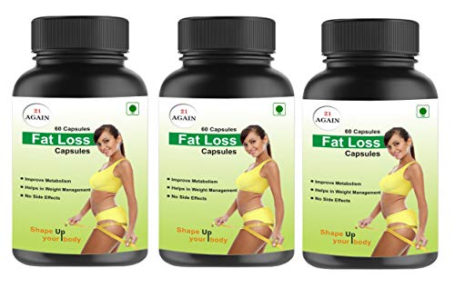 21 Again Fat Loss capsule | Improves Metabolism | Helps In Weight Management | No Side Effect (Pack Of 3) | For Men & Women