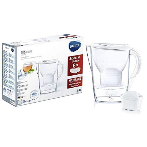 BRITA Marella - Jarra de Agua Filtrada con 6 cartuchos MAXTRA+ - Filtro de agua BRITA de color blanco que reduce la cal y el cloro - Agua filtrada para un sabor excelente