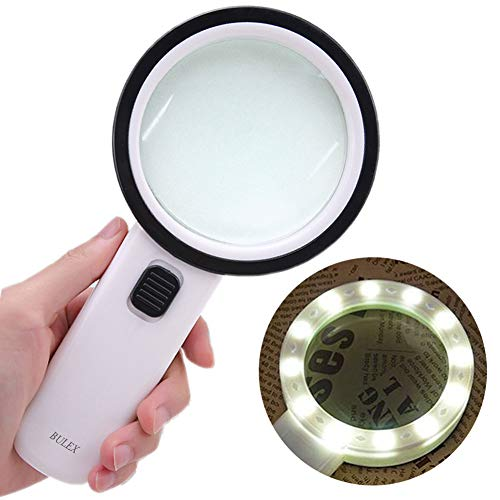 Bulex Magnifying Glass with Light for Reading, 10X Ideal for Macular Degeneration Low Vision Seniors, High Power Handheld Lighted Magnifier Glasses with Led Light, Gifts for Elderly