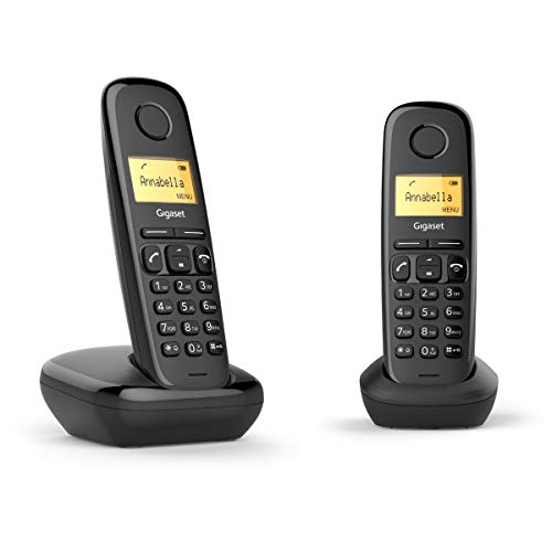 Gigaset A170 Duo. Easy to use, Twin Digital Cordless Telephone with Illuminated Display & Hearing-aid-compatible (Pack of 2), Black