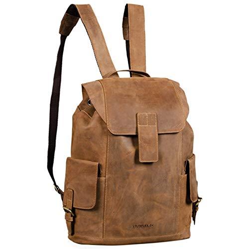 STILORD \'Austin\' Rucksack Laptop Leder 13.3 Zoll Frauen Männer Lederrucksack Daypack für DIN A4 Ordner für Schule Uni Arbeit, Farbe:Used Look - braun