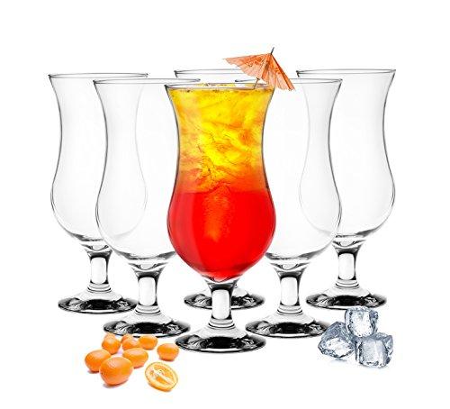6bicchieri da cocktail Hurricane da 480ml, 9varianti trasparente