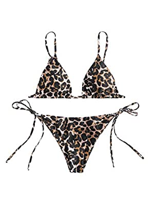 Stretchy fabric,very comfortable to wear String bikini with triangle cups that have removable pads for more or less coverage Casual and cute, bikini bathing suit with string tie closures for a customized fit This women two piece bikini set is perfect...