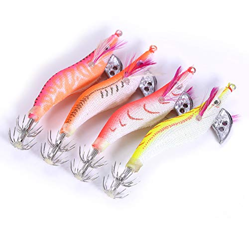 Alomejor 4pcs luminoso gamberetti esche da pesca in plastica morbida esche artificiali luminoso gamberetti esche Squid jigging gamberetto esca