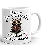 Tasse-Mug Cadeau Personnalisable Prénom Amie Anniversaire - C'est Comme le Café Je l'Adore - Humour Rigolo Amusant