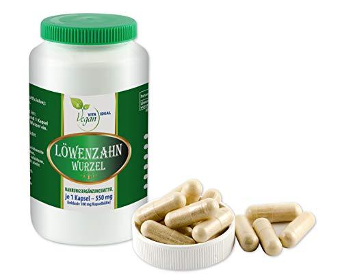 VITAIDEAL VEGAN® Löwenzahn-Wurzel (Traxacum officialae) 90 pflanzliche Kapseln je 550mg, rein natürlich ohne Zusatzstoffe.