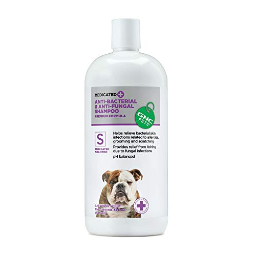 GNC Pets Medicated Anti-Bacterial & Anti-Fungal Shampoo for Dogs, 32 Ounces - Lavender Scent | Dog Shampoo Provides Relief from Itching