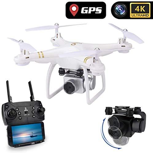 HIMFL Drone GPS con Telecamera Full HD 4K Quadricottero 5G WiFi FPV RC Videocamera per Bambini e Principianti,Bianca