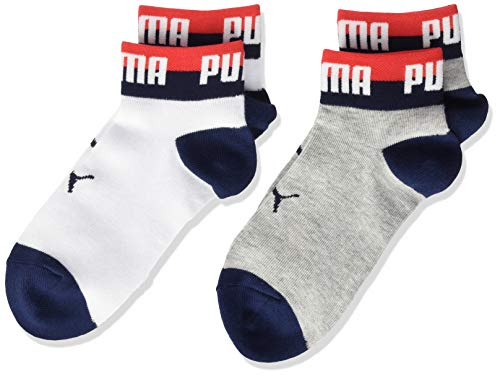 PUMA Kids' Seasonal Quarter Socks (2 Pack) Calzini, White Grey/White, 27-30 Unisex-Bambini